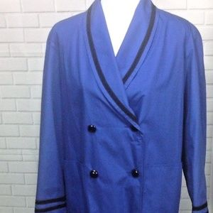 Vintage Christian Dior Women Dress Coat Long Blue